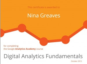 Adwords Training Bristol 1weekSEO Digital Analytics Fundamentals Google Certificate 2013 October