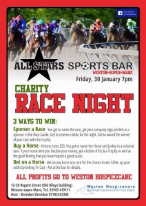 Charity Race Night Weston super Mare 2015 January Allstars