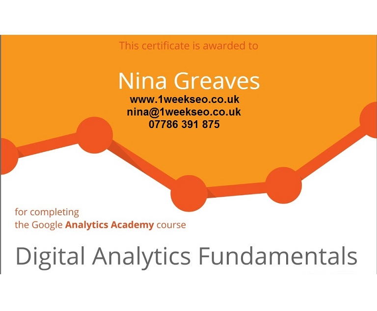1weekSEO Digital Analytics Fundamentals Google Certificate Homepage