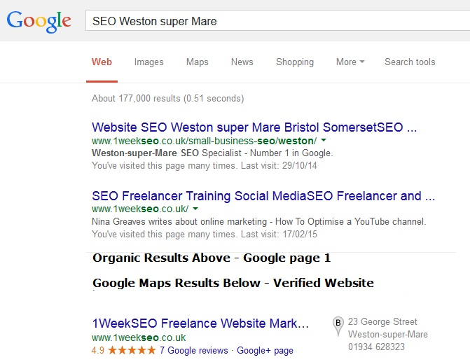 SEO Weston super Mare 1weekSEO Nina Greaves Freelance and Social Media Training
