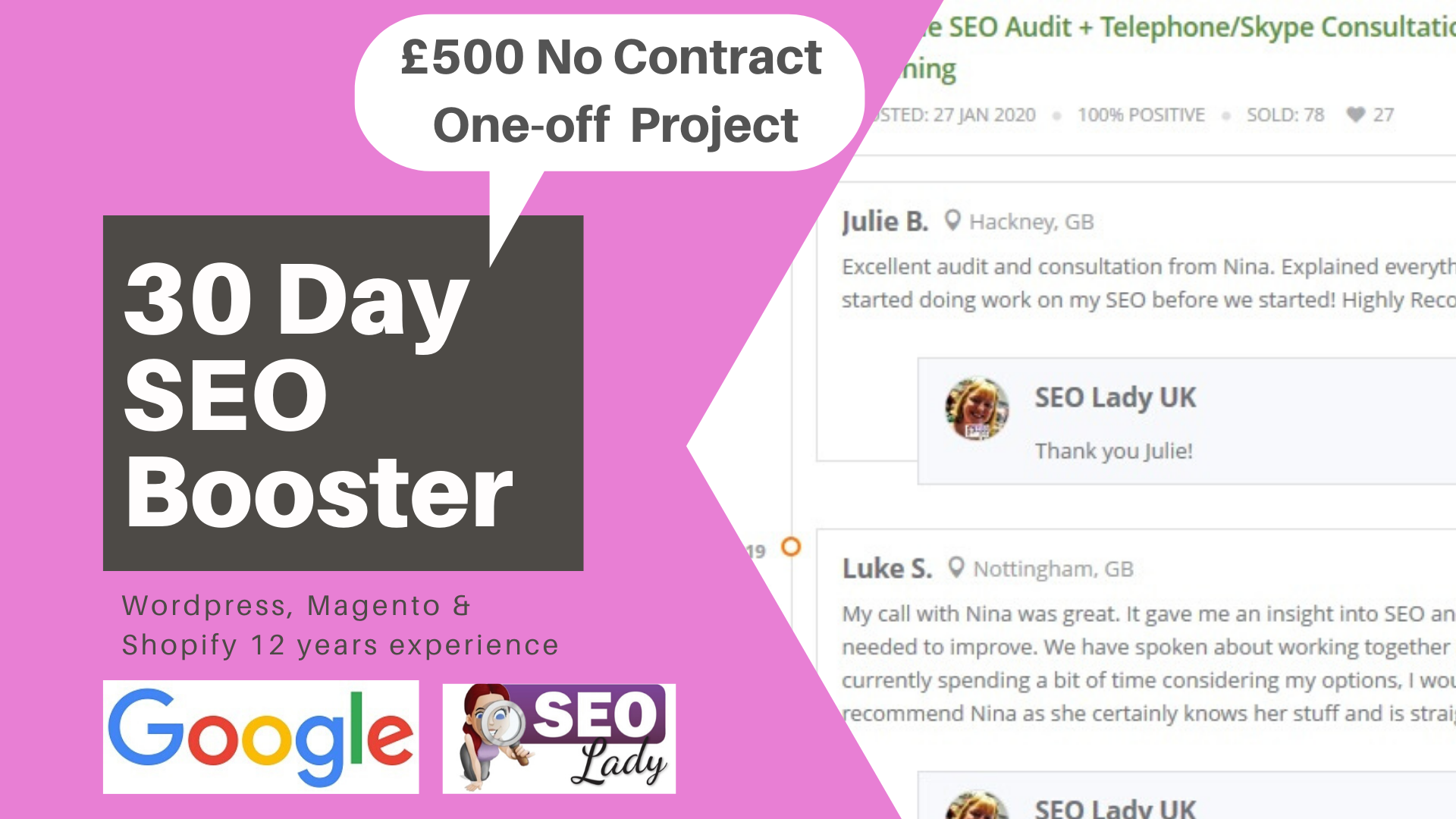 SEO Booster Freelancer UK Consultant WordPress Google Disavow Ranking Website Redesign Domain Migration