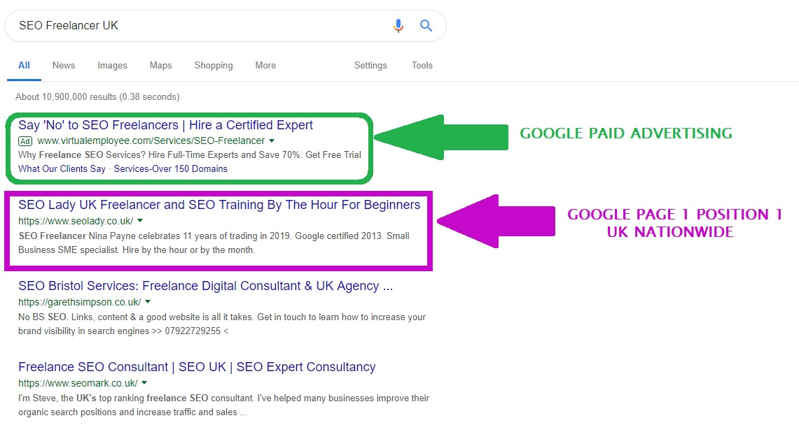 SEO Freelancer UK Consultant Google Page 1 position 1 April 2019