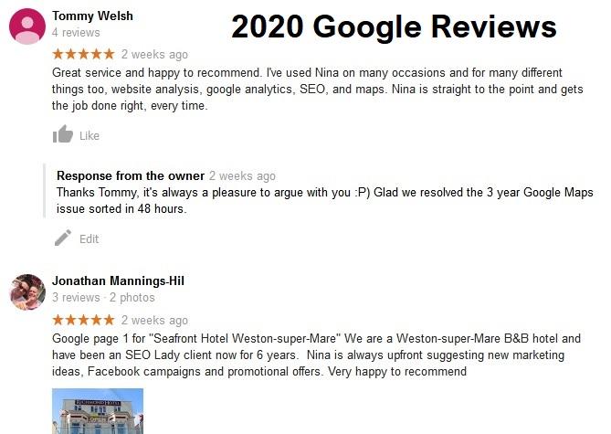 SEO Consultant UK Freelancer Google Disavow Website Redesign Domain Migration WordPress Magento 2 Nina Payne SEO Lady Reviews