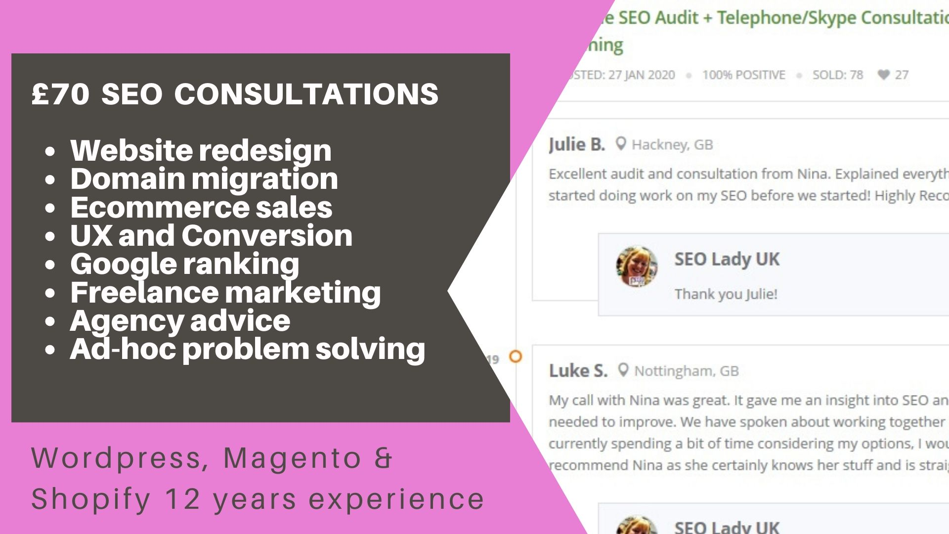 SEO Freelancer UK Consultant Google Ranking Website Redesign Domain Migration Digital Manager
