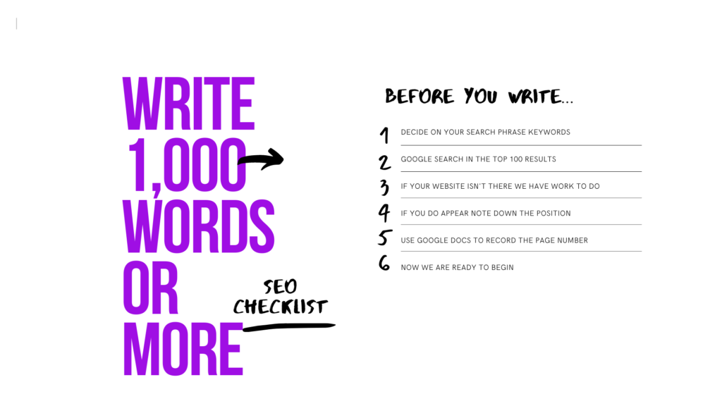 How Long Write 1000 Words SEO Ranking Google WordPress UK Freelance Consultant