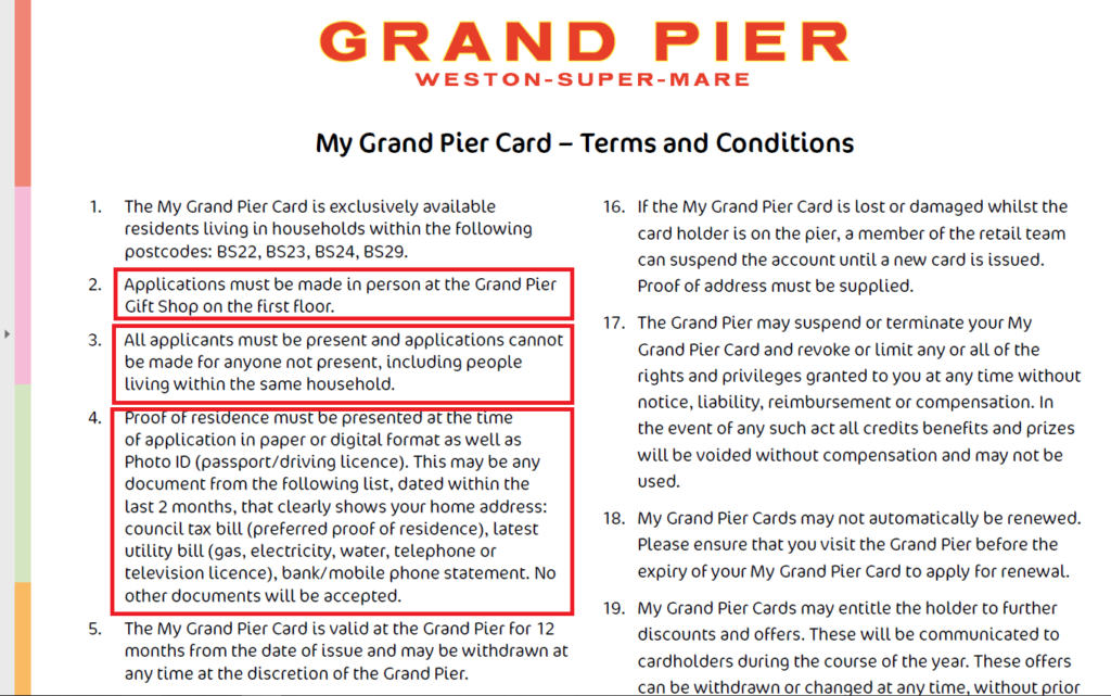 Weston super Mare Grand Pier Resident's Pass Application Privancy Concerns 10_2020_ 999