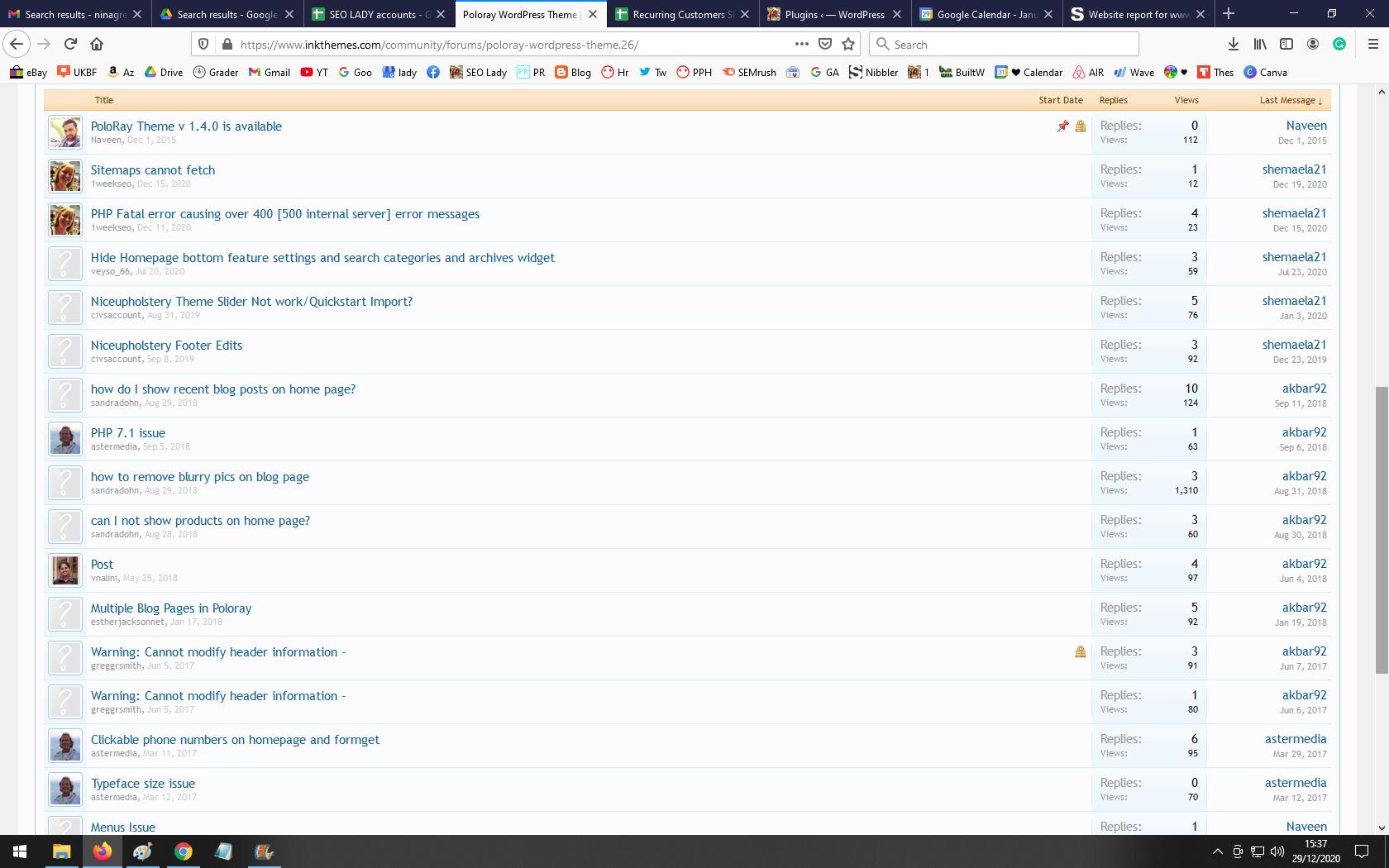 Poloray Wordpress Theme Customizer Broken Not Working Core Update December 2020