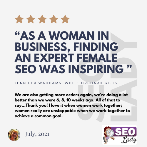 seo consultant White Orchard Gifts Shrwesbury UK review testimonial female woman-led women in business ecommerce shopify 2021 local google rankings wordpress freelance